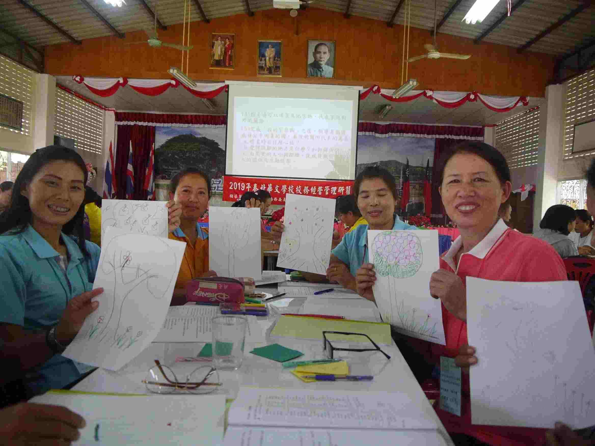 學員於「團體輔導活動」中完成「我的家庭樹」,並與組員分享。